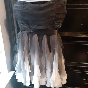 Strapless black and white ombre dress